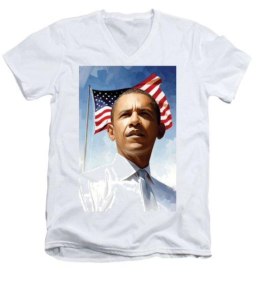 Barack Obama Artwork 1 Men's V-Neck T-Shirt