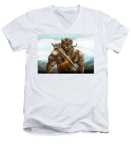 Men's V-Neck T-Shirt featuring the painting Baragh The Hoargg Warrior by Reynold Jay