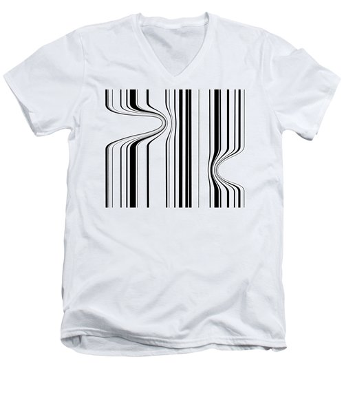 Men's V-Neck T-Shirt featuring the painting Barcode  C2014 by Paul Ashby