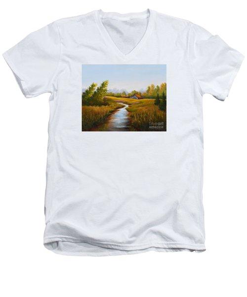 Barn And Stream Men's V-Neck T-Shirt