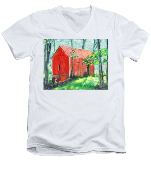 Men's V-Neck T-Shirt featuring the painting Barn At Walpack by Michael Daniels