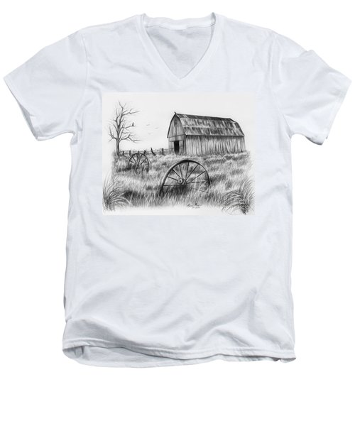 Barn With Crows Men's V-Neck T-Shirt by Lena Auxier