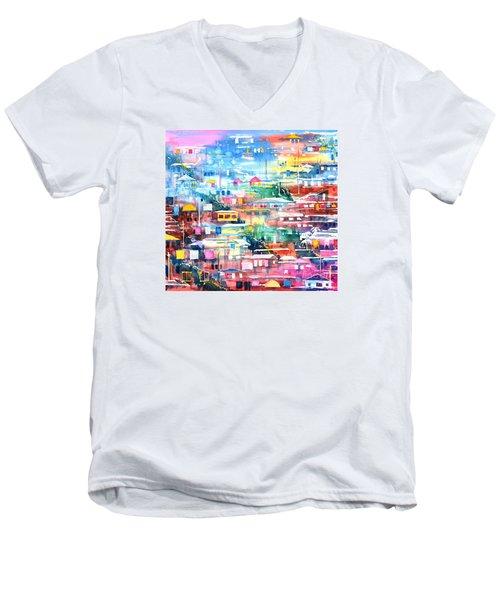 Barrio El Cerro De Yauco Men's V-Neck T-Shirt by Zaira Dzhaubaeva