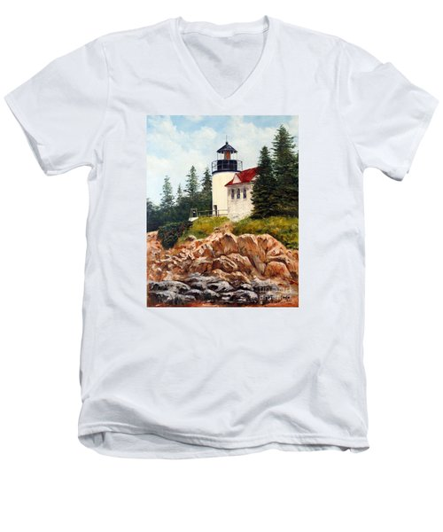Men's V-Neck T-Shirt featuring the painting Bass Harbor Head Light by Lee Piper