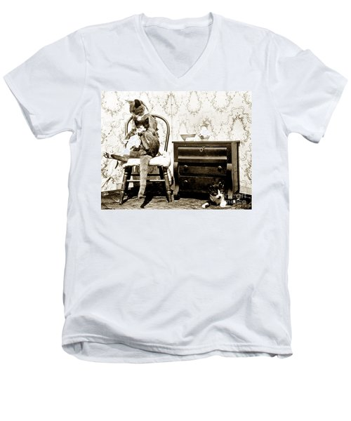 Men's V-Neck T-Shirt featuring the photograph Bath Time For Kitty Circa 1900 Historical Photos by California Views Mr Pat Hathaway Archives