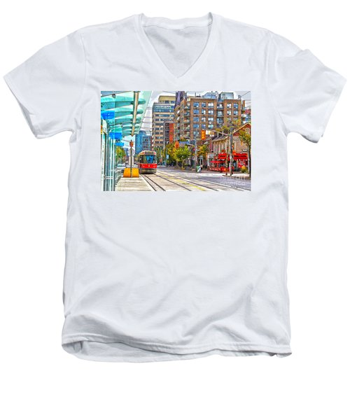 Bathurst Street Car Coming North To Queen Street Men's V-Neck T-Shirt by Nina Silver