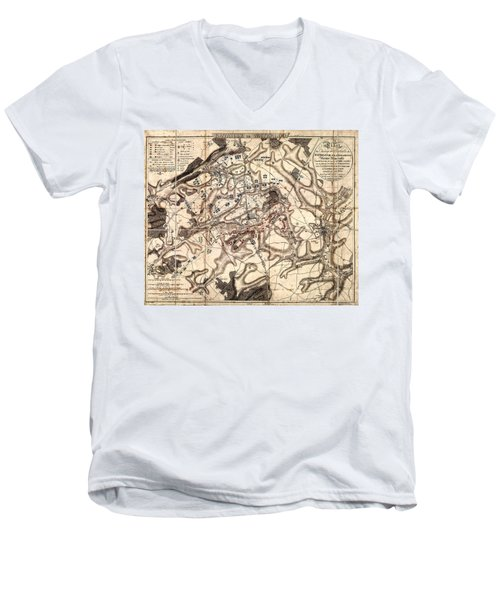 Battle Of Waterloo Old Map Men's V-Neck T-Shirt