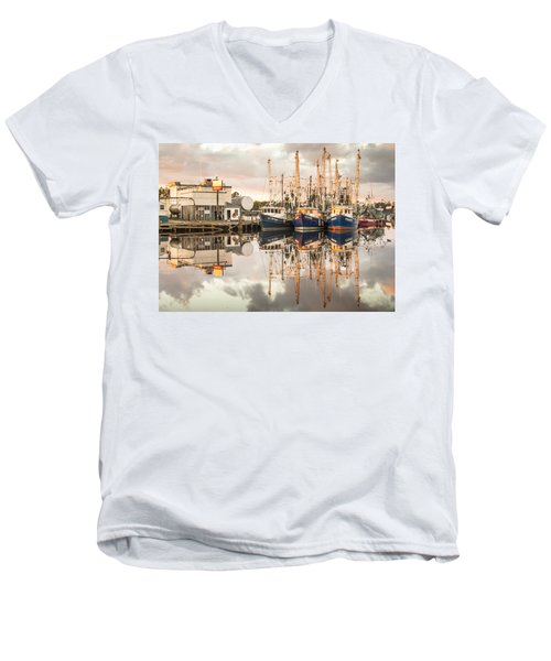 Bayou La Batre' Al Shrimp Boat Reflections 40 Men's V-Neck T-Shirt