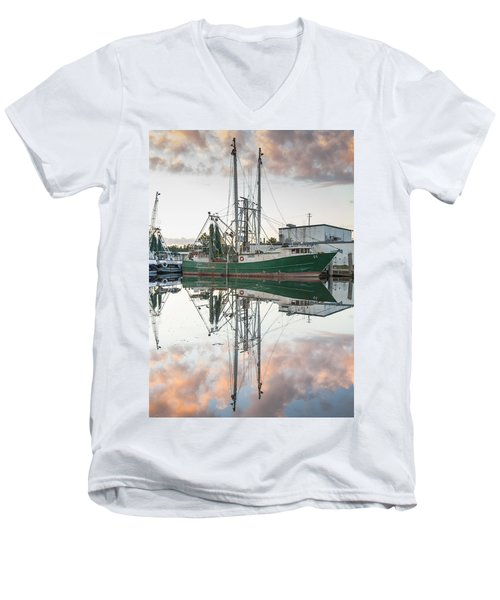 Bayou La Batre' Al Shrimp Boat Reflections 42 Men's V-Neck T-Shirt