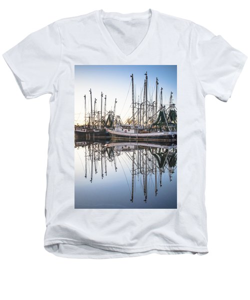 Bayou La Batre' Al Shrimp Boat Reflections 44 Men's V-Neck T-Shirt