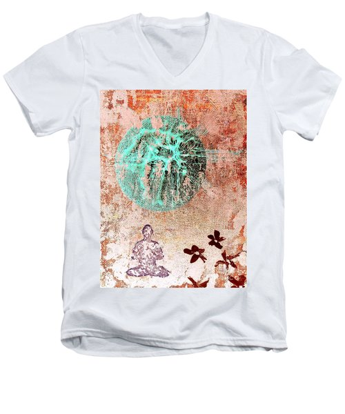Men's V-Neck T-Shirt featuring the painting Be The Buddha by Jacqueline McReynolds