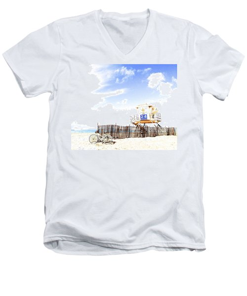 Men's V-Neck T-Shirt featuring the photograph Beach Cruiser by Margie Amberge