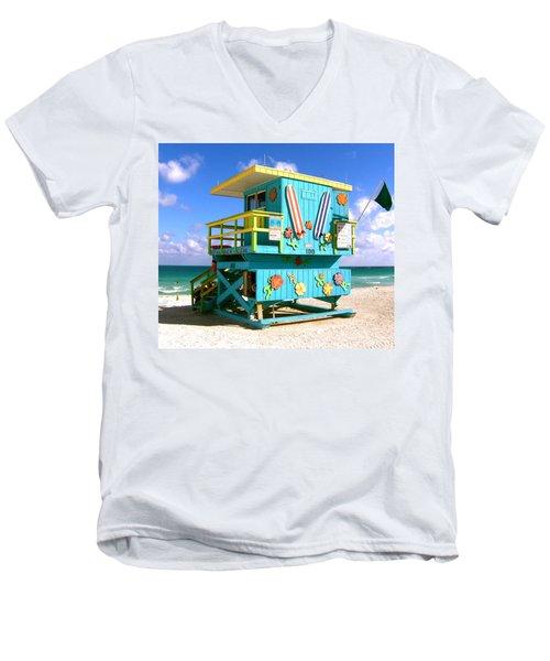 Beach Life In Miami Beach Men's V-Neck T-Shirt