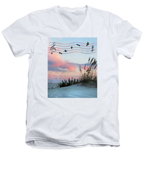 Men's V-Neck T-Shirt featuring the photograph Beach Music by Deborah Smith