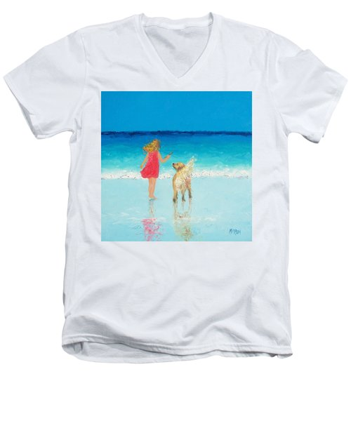 Beach Painting 'sunkissed Hair'  Men's V-Neck T-Shirt