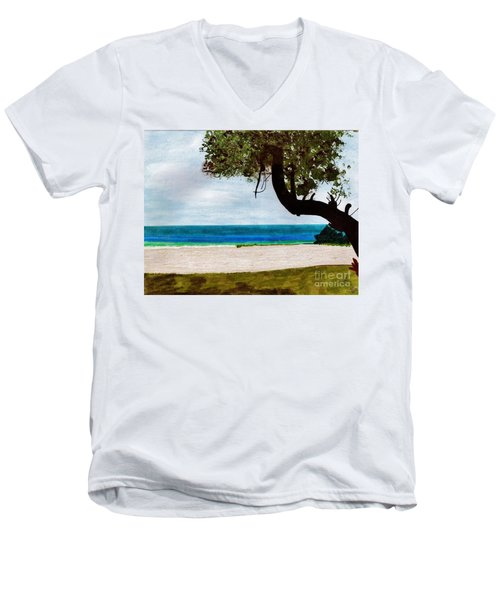Men's V-Neck T-Shirt featuring the drawing Beach Side by D Hackett