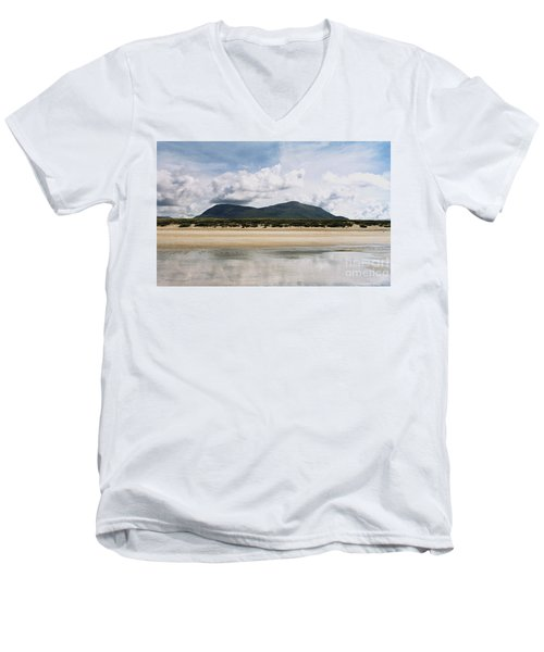 Beach Sky And Mountains Men's V-Neck T-Shirt by Rebecca Harman