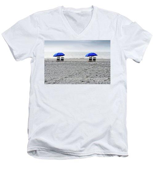 Beach Umbrellas On A Cloudy Day Men's V-Neck T-Shirt