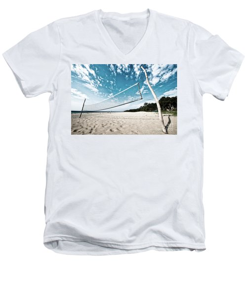 Beach Volleyball Net Men's V-Neck T-Shirt