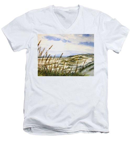 Beach Watercolor 3-19-12 Julianne Felton Men's V-Neck T-Shirt