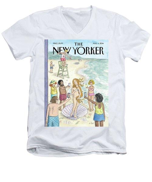 Venus On The Beach Men's V-Neck T-Shirt