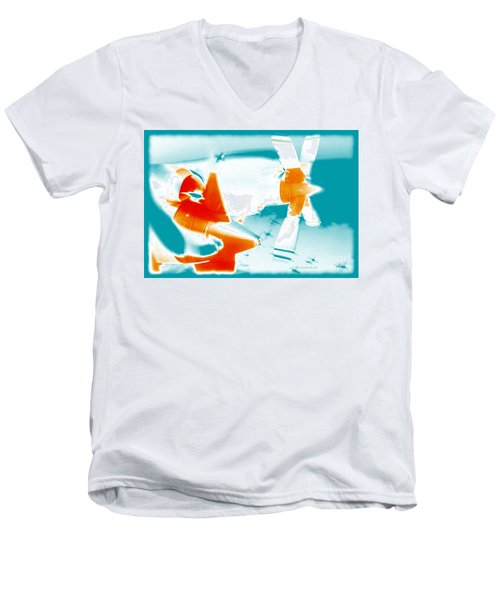 Men's V-Neck T-Shirt featuring the photograph Fixed Wing Aircraft Pop Art Poster by R Muirhead Art