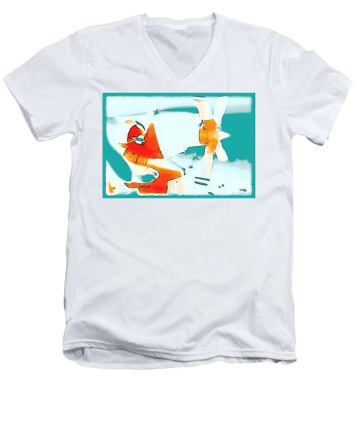 Men's V-Neck T-Shirt featuring the photograph Fixed Wing Aircraft Pop Art by R Muirhead Art