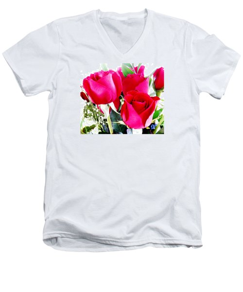 Beautiful Neon Red Roses Men's V-Neck T-Shirt by Belinda Lee