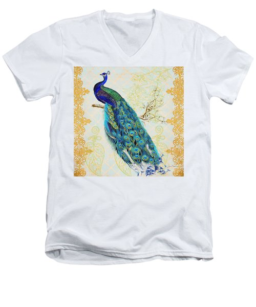 Beautiful Peacock-b Men's V-Neck T-Shirt by Jean Plout