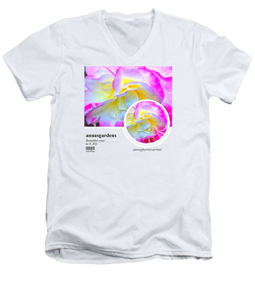 Beautiful Pink And Yellow Rose Men's V-Neck T-Shirt
