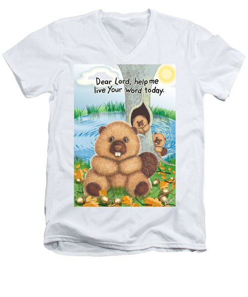 Beaver Men's V-Neck T-Shirt by Jerry Ruffin