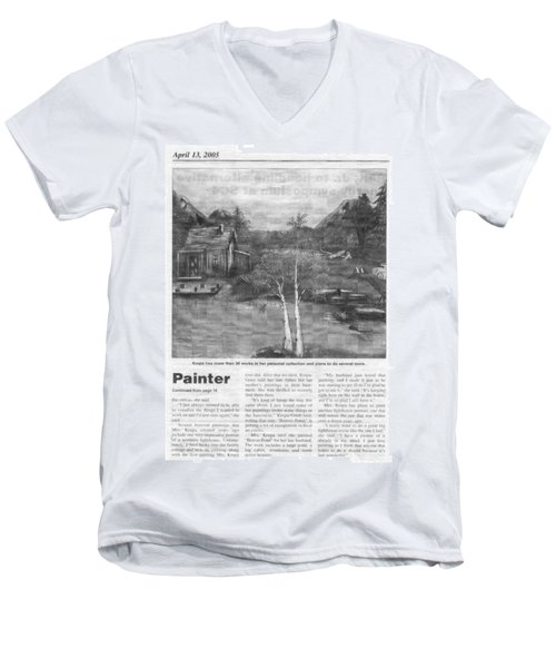 Beaver Pond - Article - Mary Krupa Men's V-Neck T-Shirt by Bernadette Krupa