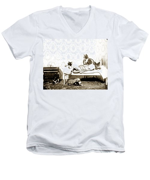 Men's V-Neck T-Shirt featuring the photograph Bed Time For Kitty Cats Histrica Photo Circa 1900 by California Views Mr Pat Hathaway Archives