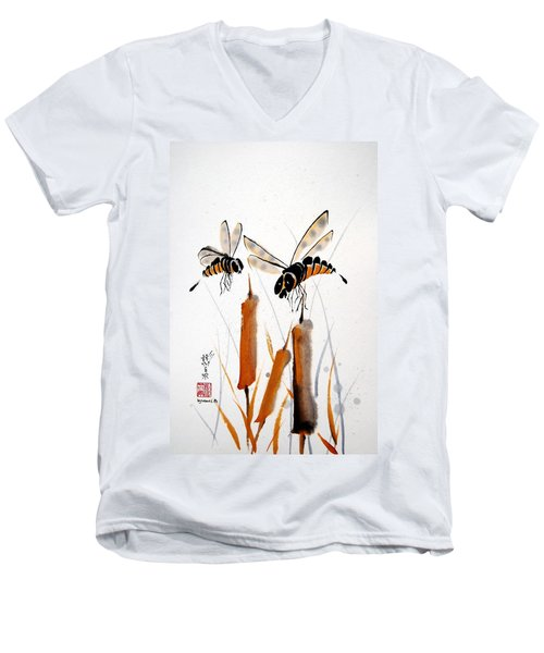 Bee-ing Present Men's V-Neck T-Shirt by Bill Searle