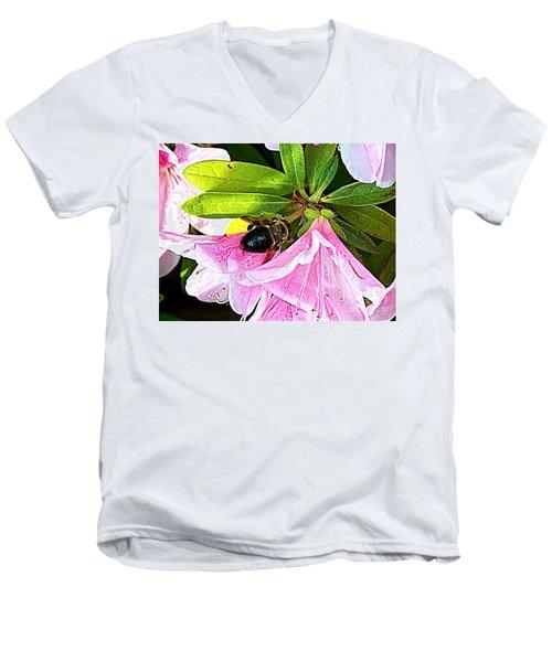 Bee On  Pink Azalea Men's V-Neck T-Shirt by Kathy  White