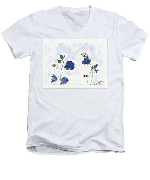 Bees At Lunch Time Men's V-Neck T-Shirt by Francine Heykoop