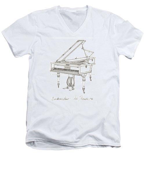 Beethoven's Broadwood Grand  Piano Men's V-Neck T-Shirt by Ira Shander
