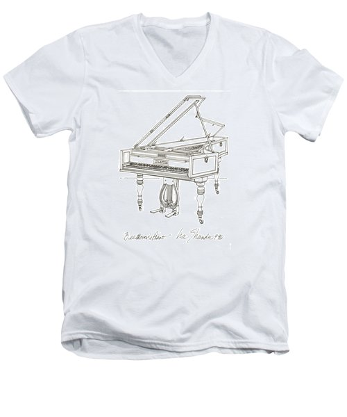 Beethoven's Broadwood Grand  Piano Men's V-Neck T-Shirt