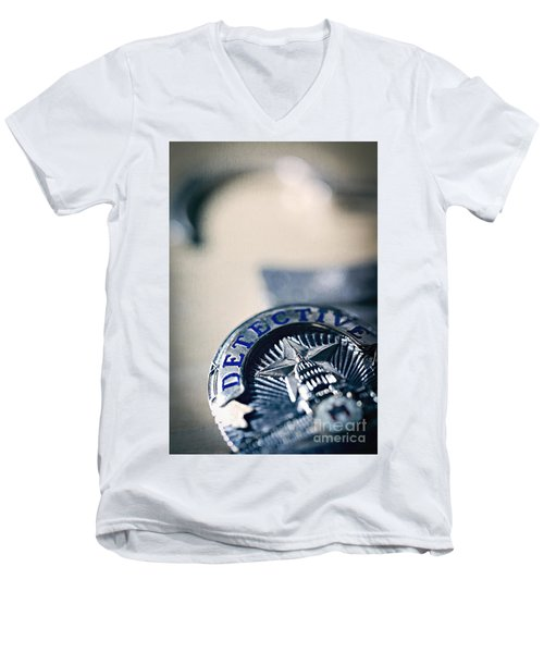 Men's V-Neck T-Shirt featuring the photograph Behind The Badge by Trish Mistric