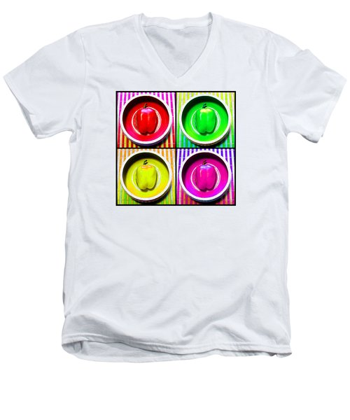 Men's V-Neck T-Shirt featuring the photograph Bell Pepper Rainbow by Shawna Rowe