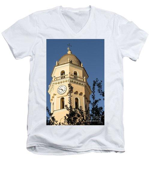 Bell Tower Of Vernazza Men's V-Neck T-Shirt