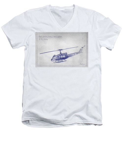 Bell Uh-1h Huey Helicopter  Men's V-Neck T-Shirt