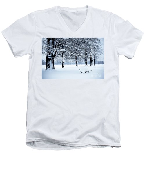 Bench In Snow Men's V-Neck T-Shirt