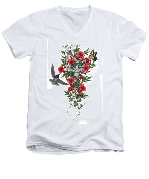 Men's V-Neck T-Shirt featuring the painting Beneath Summer's Promise by Pat Erickson