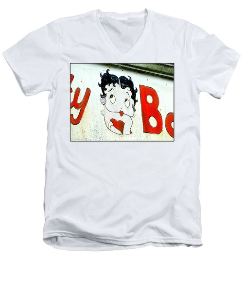 Betty Boop Herself Men's V-Neck T-Shirt by Kathy Barney