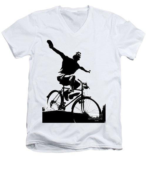 Bicycle - Black And White Pixels Men's V-Neck T-Shirt