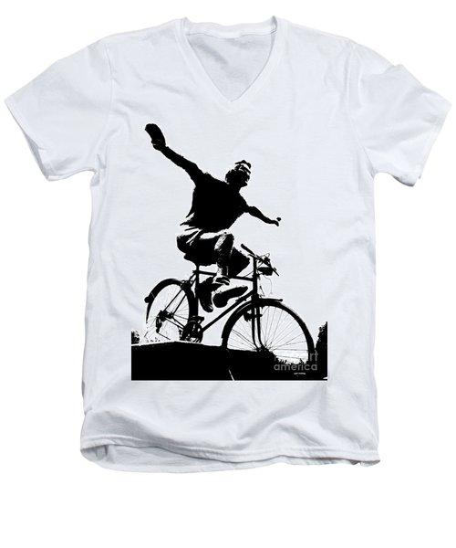 Bicycle - Black And White Pixels Men's V-Neck T-Shirt