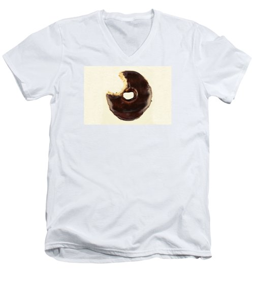 Men's V-Neck T-Shirt featuring the photograph Chocolate Donut With Missing Bite by Vizual Studio