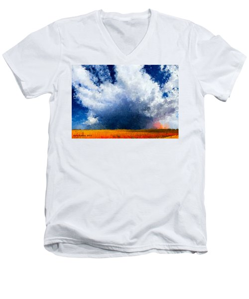 Men's V-Neck T-Shirt featuring the painting Big Cloud In A Field by Bruce Nutting