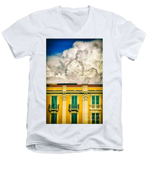 Men's V-Neck T-Shirt featuring the photograph Big Cloud Over City Building by Silvia Ganora